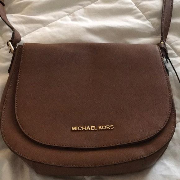 83ebcc233e30 ... where can i buy michael kors crossbody bag in cognac color f9639 5531e  ...